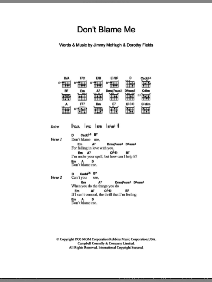 Don't Blame Me sheet music for guitar (chords) by Dorothy Fields and Jimmy McHugh. Score Image Preview.