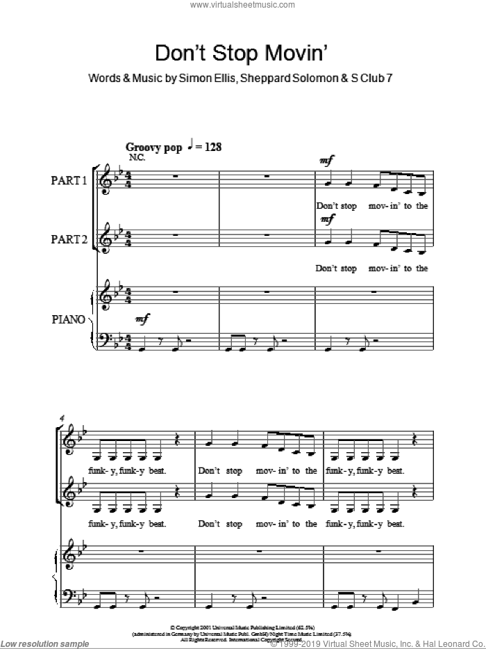 Don't Stop Movin' sheet music for choir (duets) by Simon Ellis, S Club 7 and Sheppard Solomon. Score Image Preview.