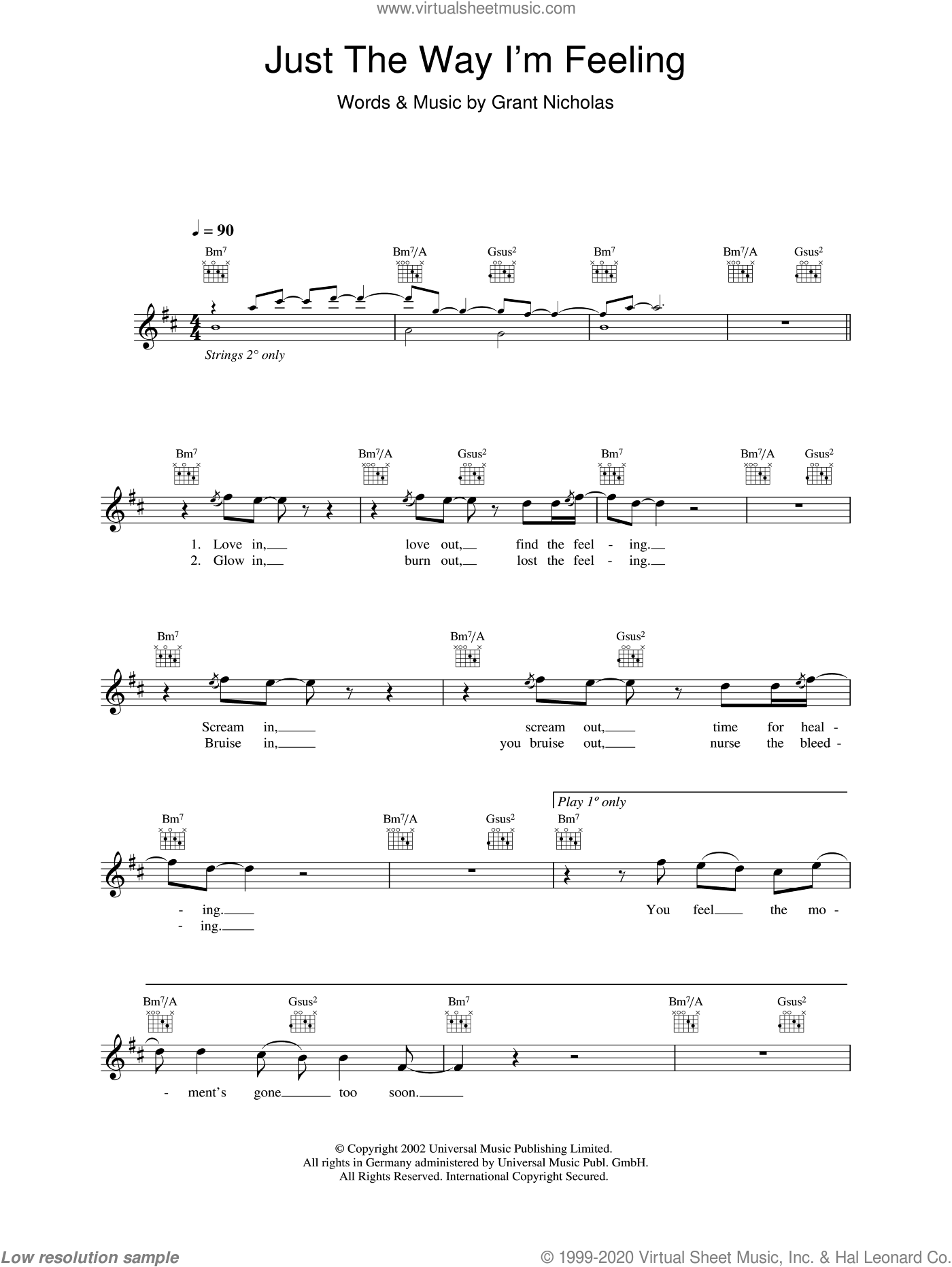 Just The Way I'm Feeling sheet music for voice and other instruments (fake book) by Feeder and Grant Nicholas, intermediate skill level