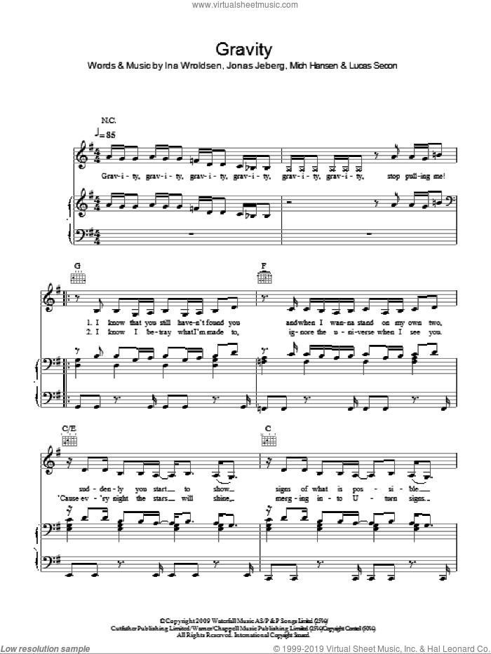 Gravity sheet music for voice, piano or guitar by Mich Hansen, Pixie Lott, Ina Wroldsen, Jonas Jeberg and Lucas Secon. Score Image Preview.