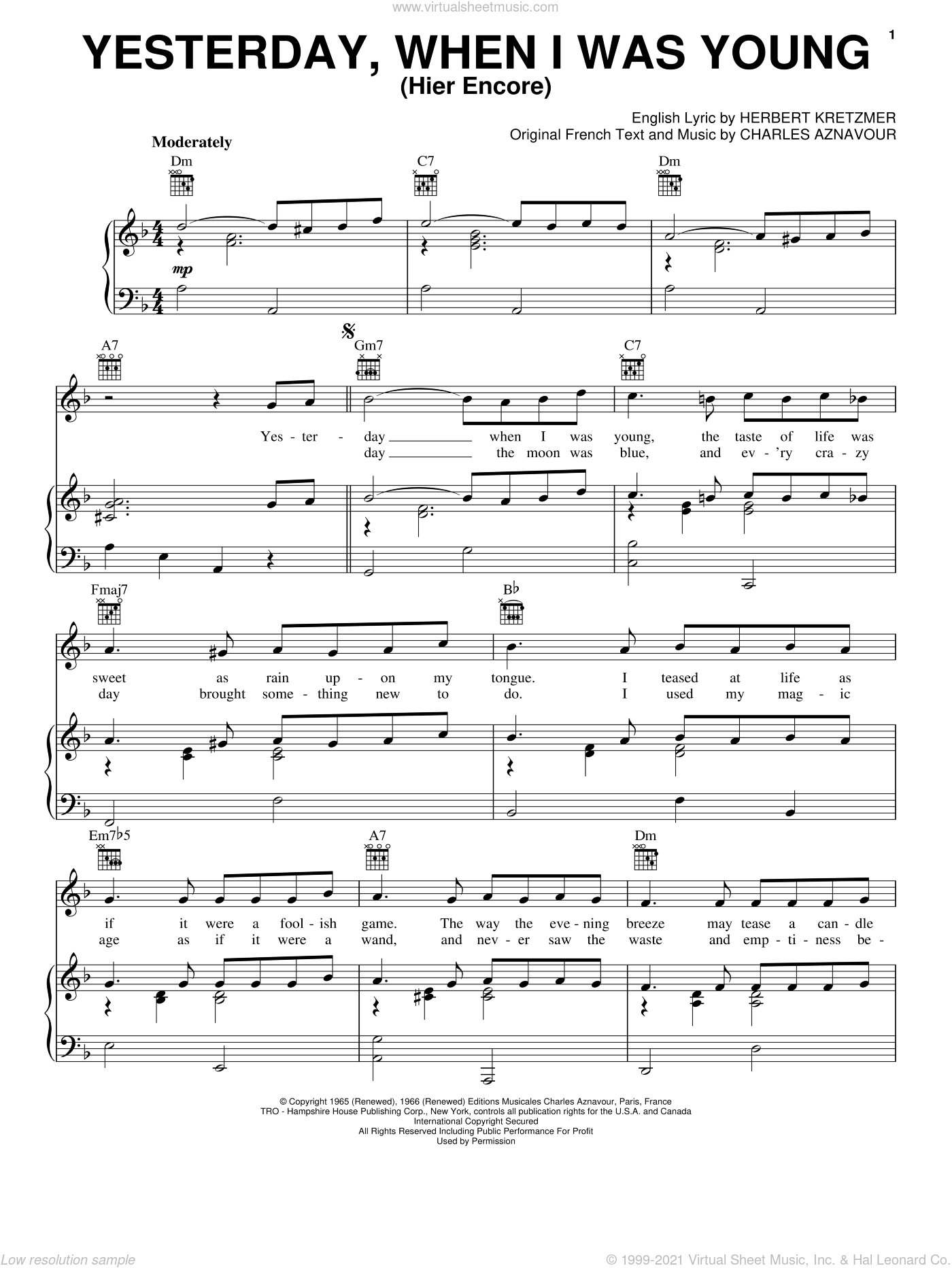 Yesterday When I Was Young (Hier Encore) sheet music for voice, piano or guitar by Charles Aznavour and Herbert Kretzmer, intermediate skill level