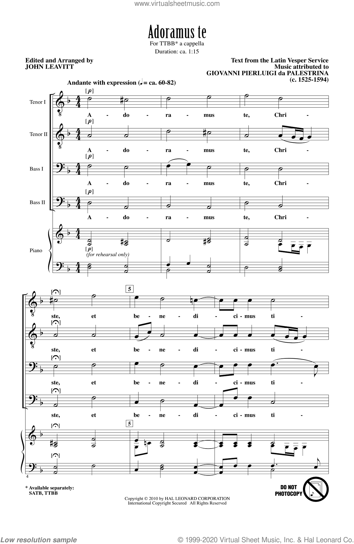 Adoramus Te sheet music for choir (TTBB: tenor, bass) by Giovanni Perluigi Da Palestrina and John Leavitt, intermediate. Score Image Preview.