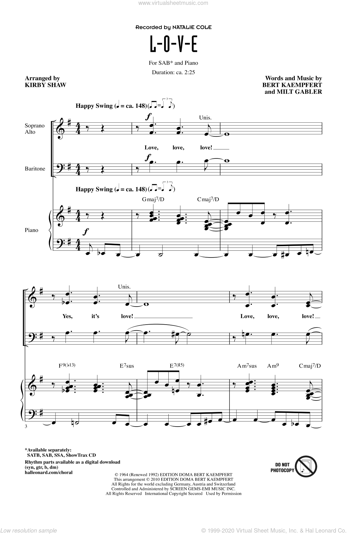 L-O-V-E sheet music for choir and piano (SAB) by Bert Kaempfert, Kirby Shaw, Milt Gabler and Natalie Cole. Score Image Preview.