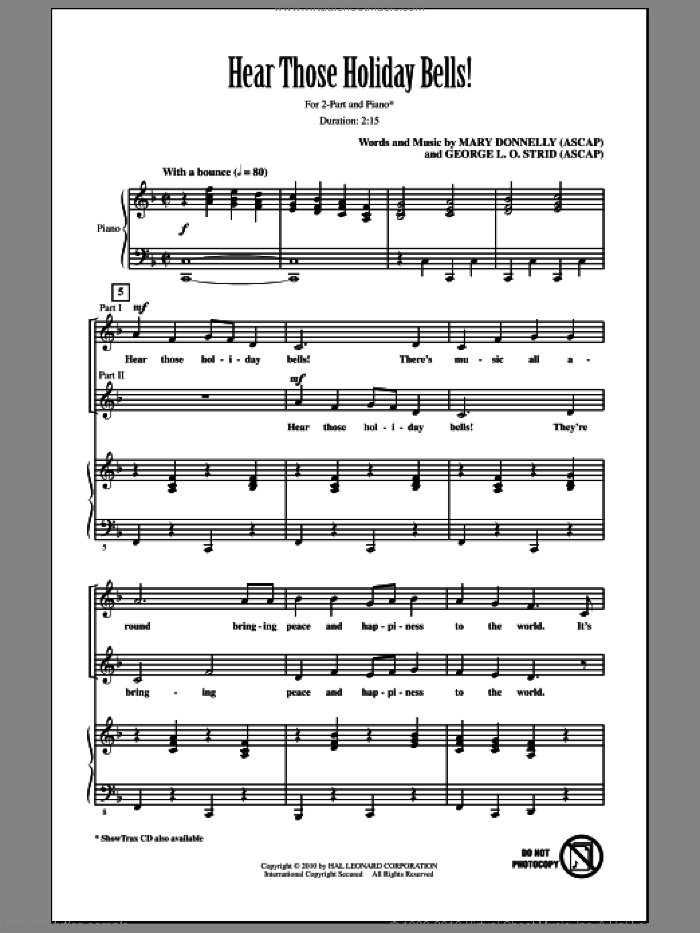Hear Those Holiday Bells! sheet music for choir and piano (duets) by George L.O. Strid
