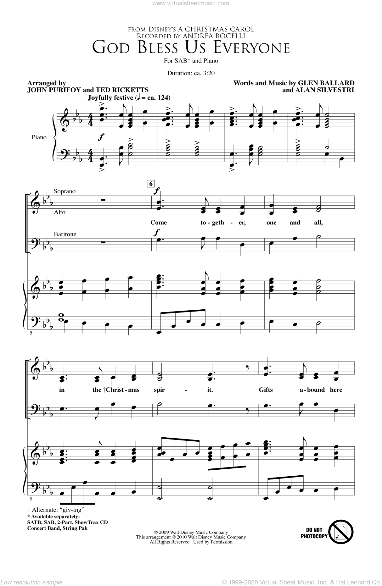 God Bless Us Everyone sheet music for choir and piano (SAB) by John Purifoy, Andrea Bocelli and Ted Ricketts. Score Image Preview.