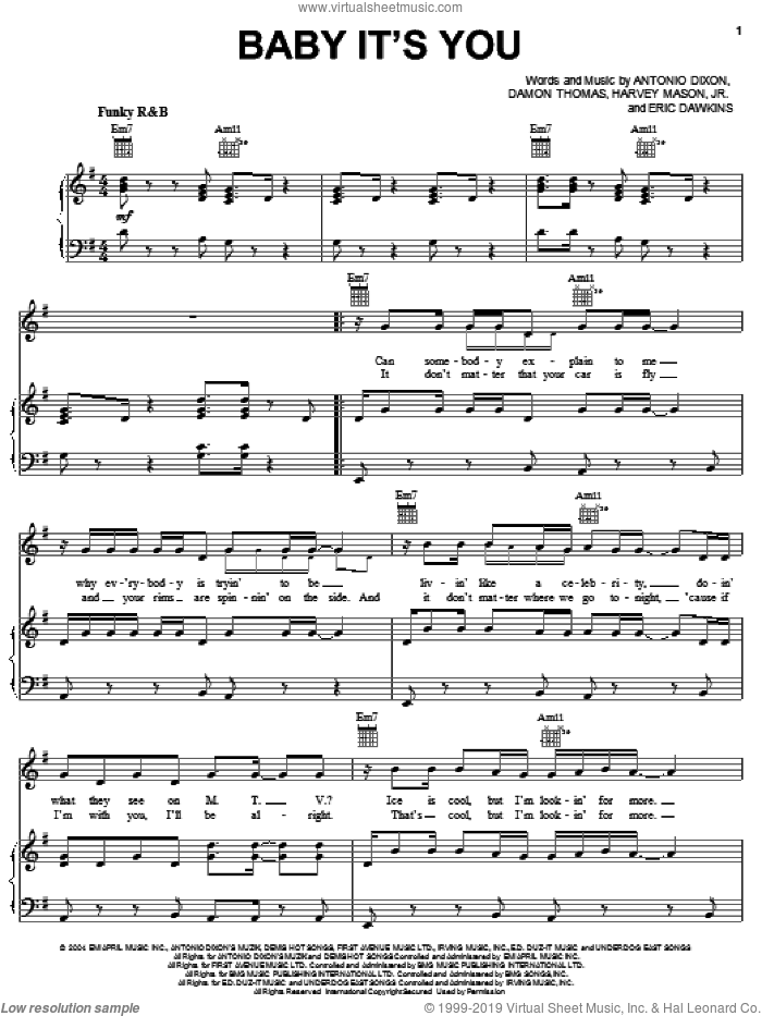 Baby It's You sheet music for voice, piano or guitar by JoJo featuring Bow Wow, Bow Wow, JoJo, Antonio Dixon, Damon Thomas, Eric Dawkins and Harvey Mason, Jr., intermediate skill level