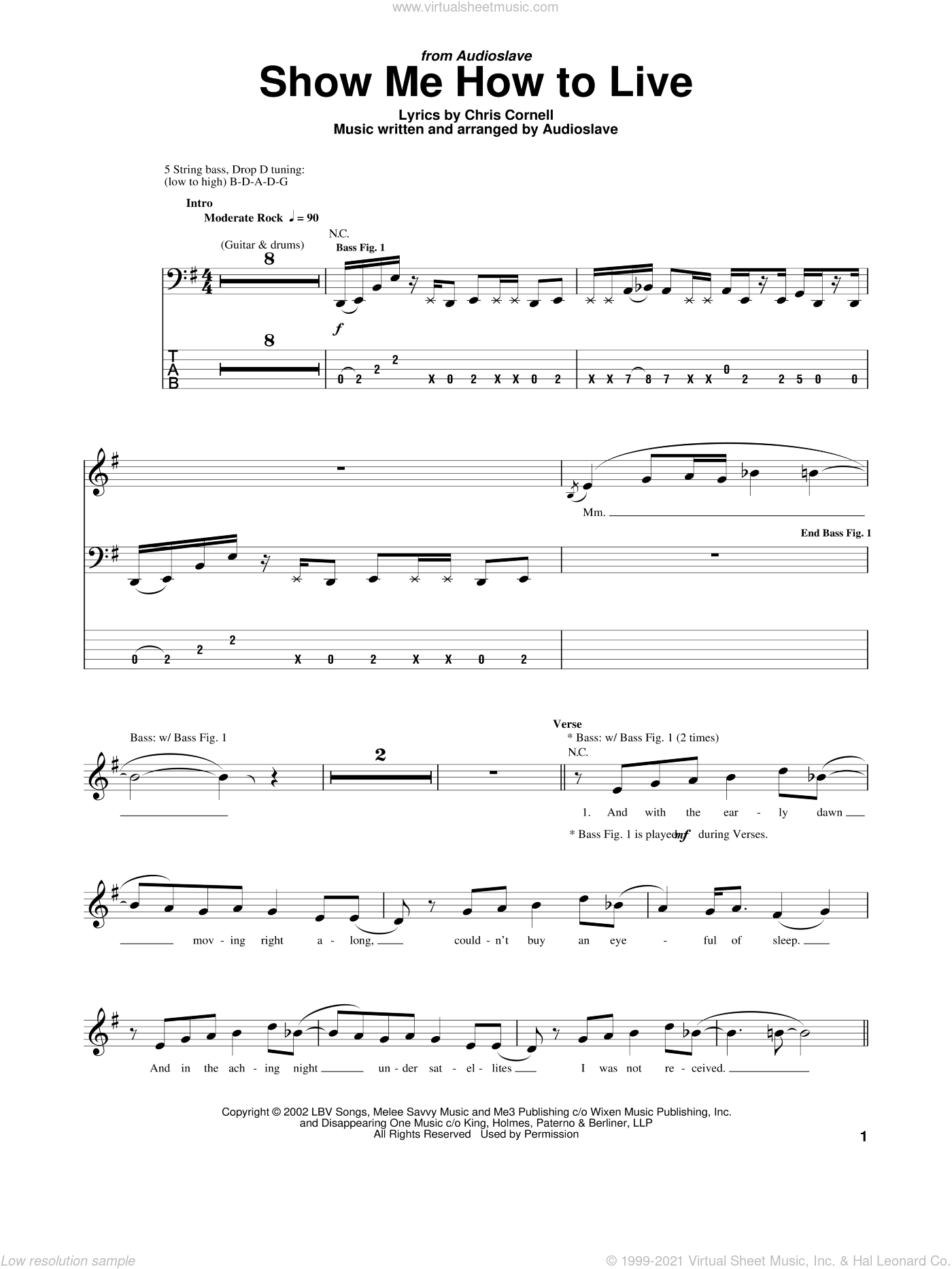 Show Me How To Live sheet music for bass (tablature) (bass guitar) by Audioslave and Chris Cornell, intermediate bass (tablature) (bass guitar). Score Image Preview.