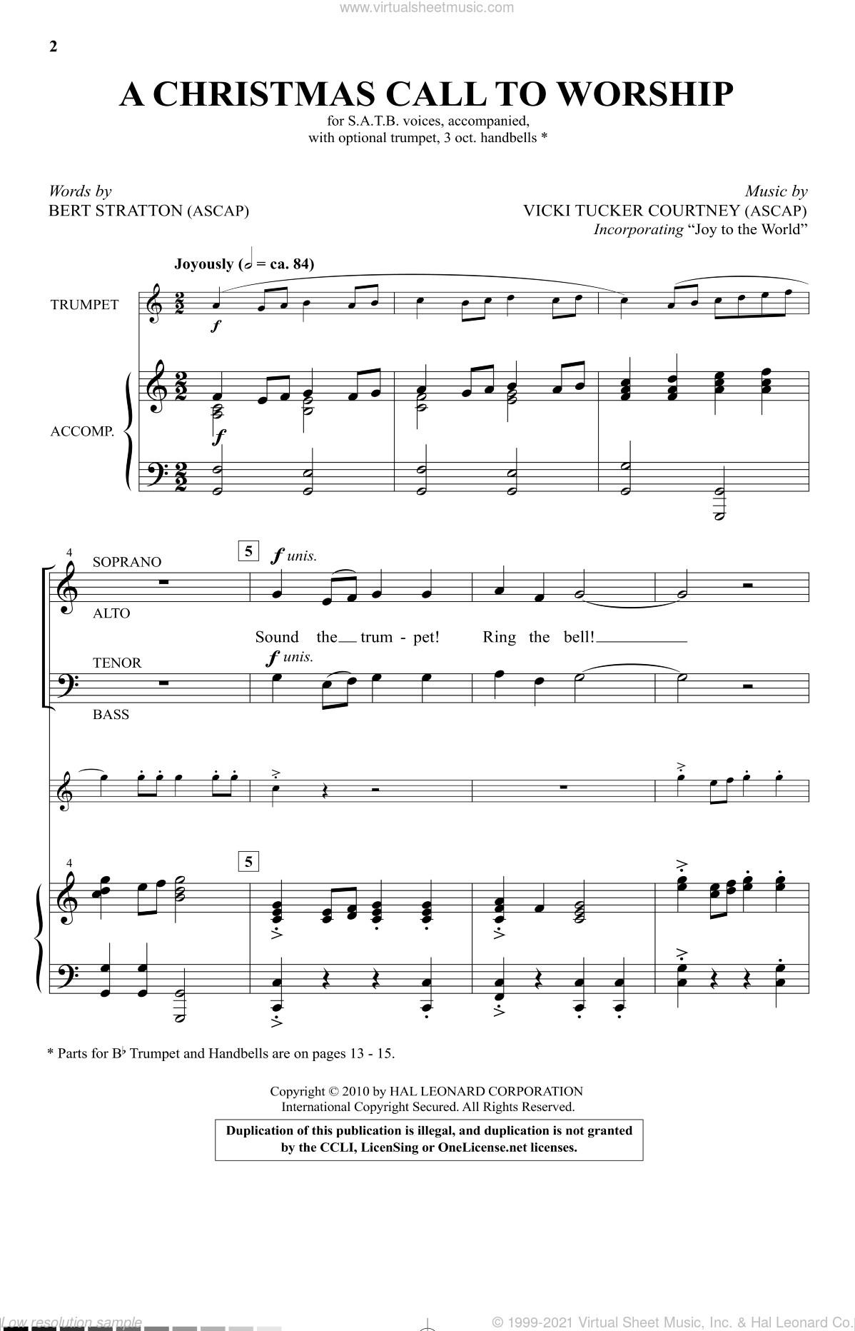 A Christmas Call To Worship sheet music for choir (SATB: soprano, alto, tenor, bass) by Vicki Tucker Courtney and Bert Stratton, intermediate skill level