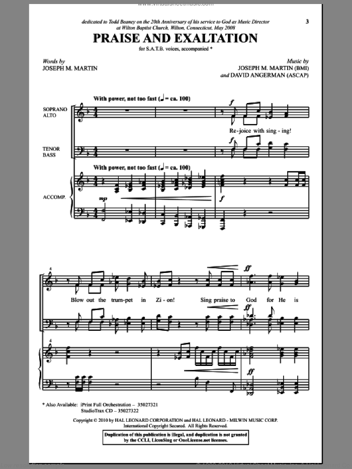 Praise And Exaltation sheet music for choir (SATB) by Joseph M. Martin and David Angerman. Score Image Preview.