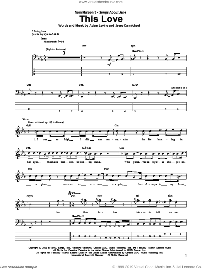 This Love sheet music for bass (tablature) (bass guitar) by Maroon 5, Adam Levine and Jesse Carmichael, intermediate skill level