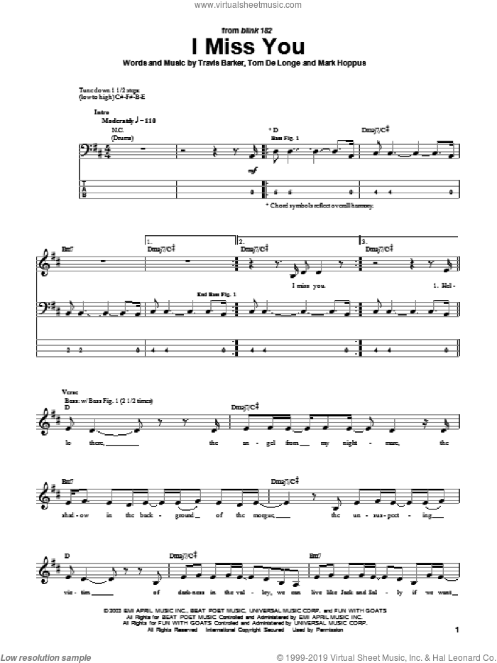 I Miss You sheet music for bass (tablature) (bass guitar) by Travis Barker, Blink-182, Mark Hoppus and Tom DeLonge