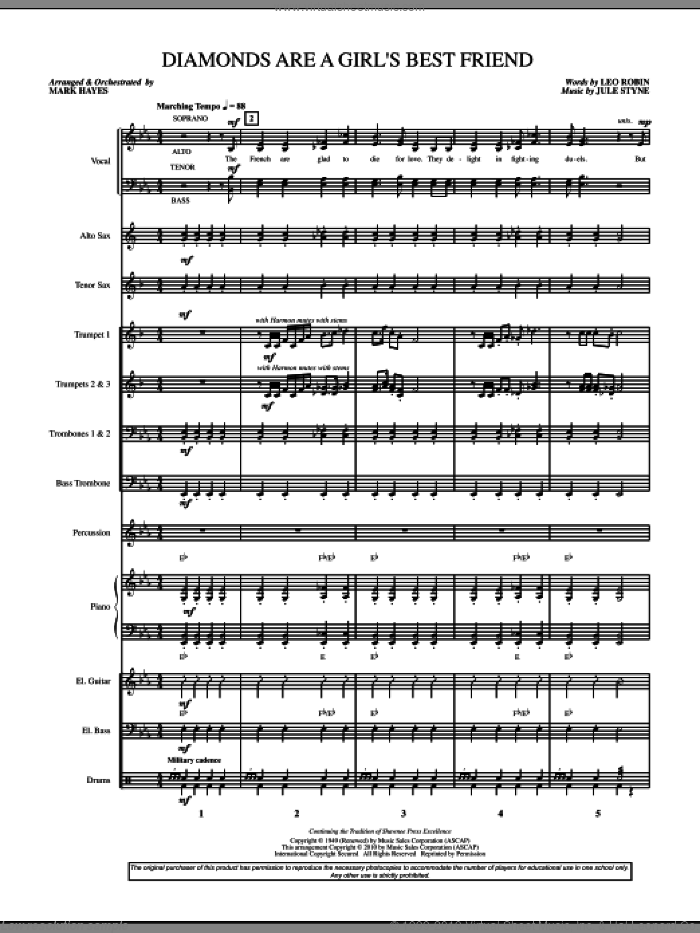 Diamonds Are A Girl's Best Friend (COMPLETE) sheet music for orchestra/band by Jule Styne, Leo Robin and Mark Hayes, intermediate. Score Image Preview.