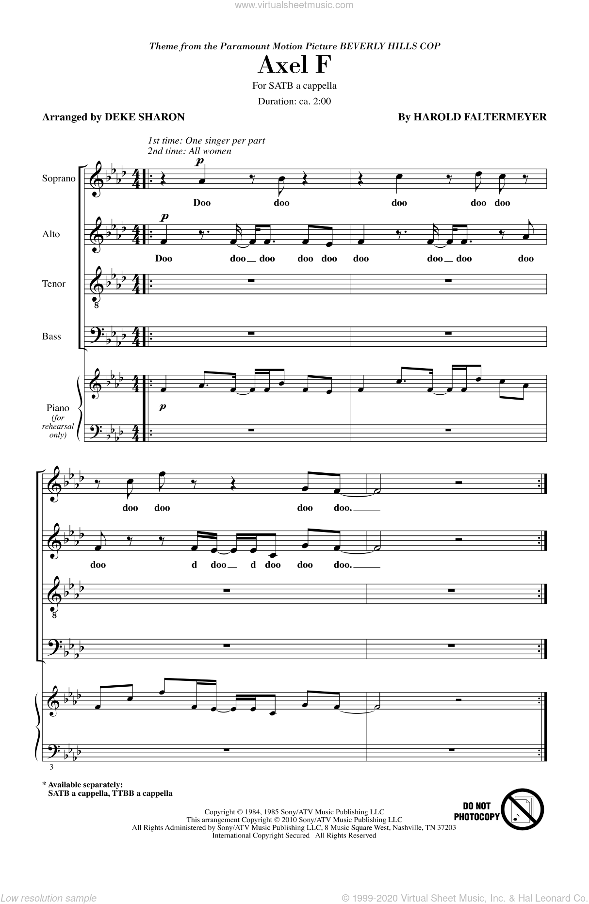 Axel F sheet music for choir and piano (SATB) by Harold Faltermeyer