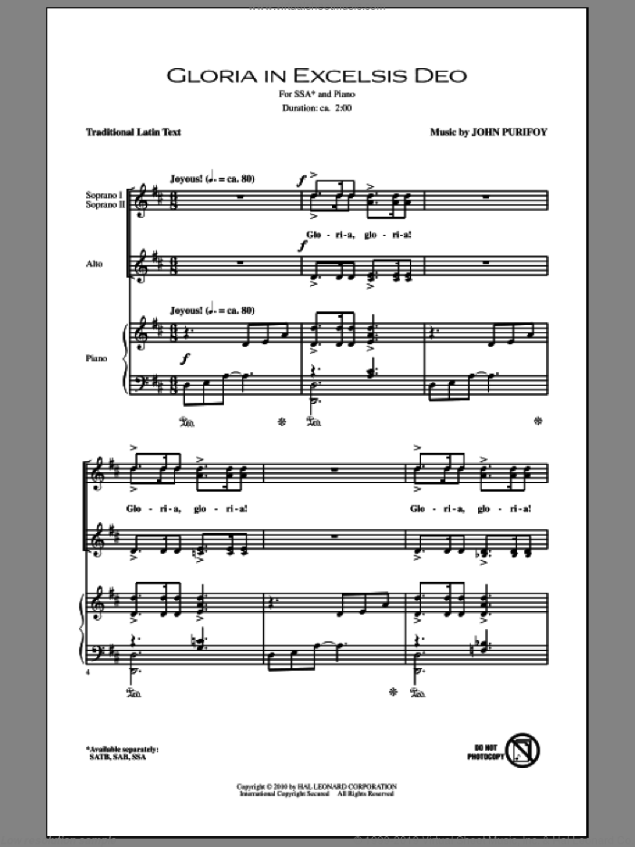 Gloria In Excelsis Deo sheet music for choir (soprano voice, alto voice, choir) by John Purifoy. Score Image Preview.