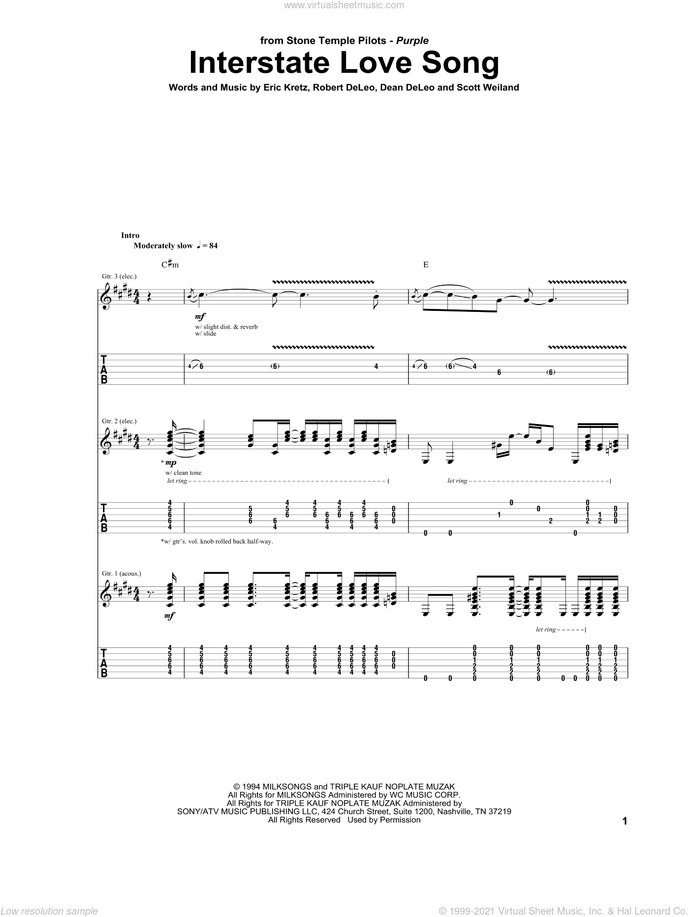 Interstate Love Song sheet music for guitar (tablature) by Scott Weiland. Score Image Preview.