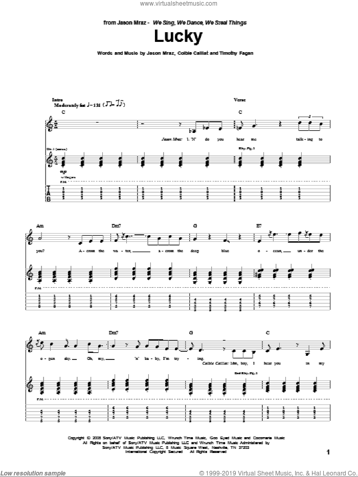 Lucky sheet music for guitar (tablature) by Jason Mraz & Colbie Caillat, Colbie Caillat, Jason Mraz and Timothy Fagan, wedding score, intermediate skill level