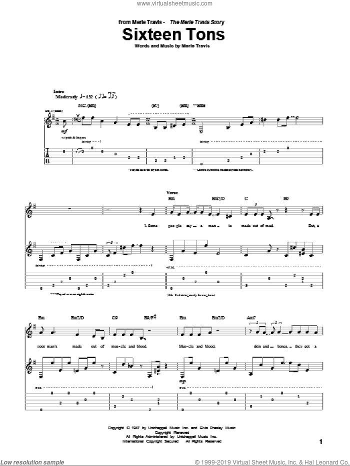 Sixteen Tons sheet music for guitar (tablature) by Merle Travis and Tennessee Ernie Ford, intermediate