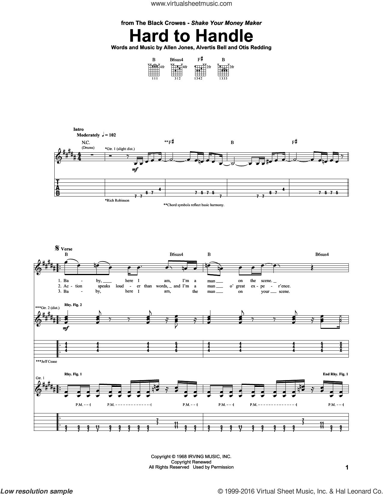 Hard To Handle sheet music for guitar (tablature) by The Black Crowes, Allen Jones, Alvertis Bell and Otis Redding, intermediate. Score Image Preview.
