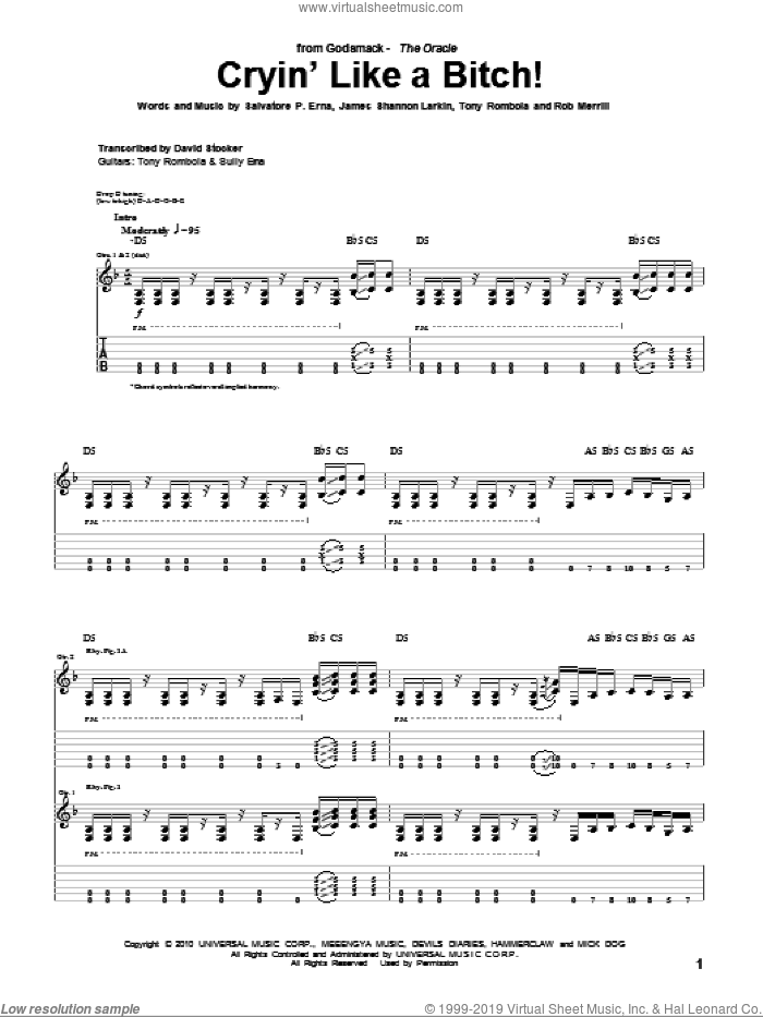 Cryin' Like A Bitch! sheet music for guitar (tablature) by Godsmack. Score Image Preview.
