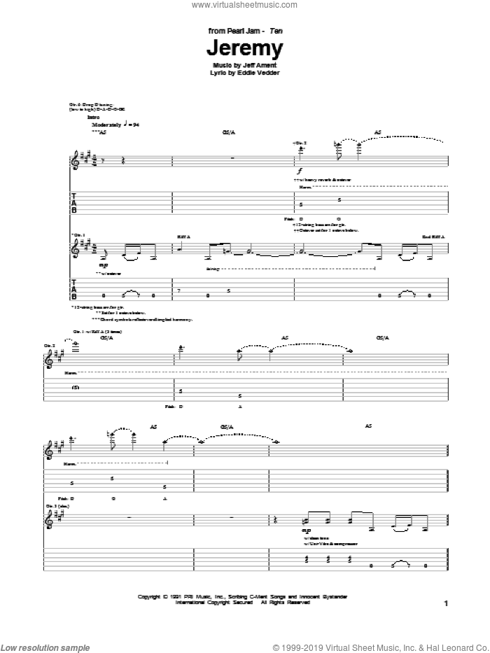 Jeremy sheet music for guitar (tablature) by Pearl Jam, Eddie Vedder and Jeff Ament, intermediate