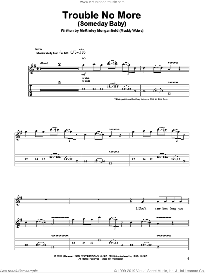 Trouble No More (Someday Baby) sheet music for guitar (tablature, play-along) by Allman Brothers Band, The Allman Brothers Band and Muddy Waters, intermediate guitar (tablature, play-along). Score Image Preview.