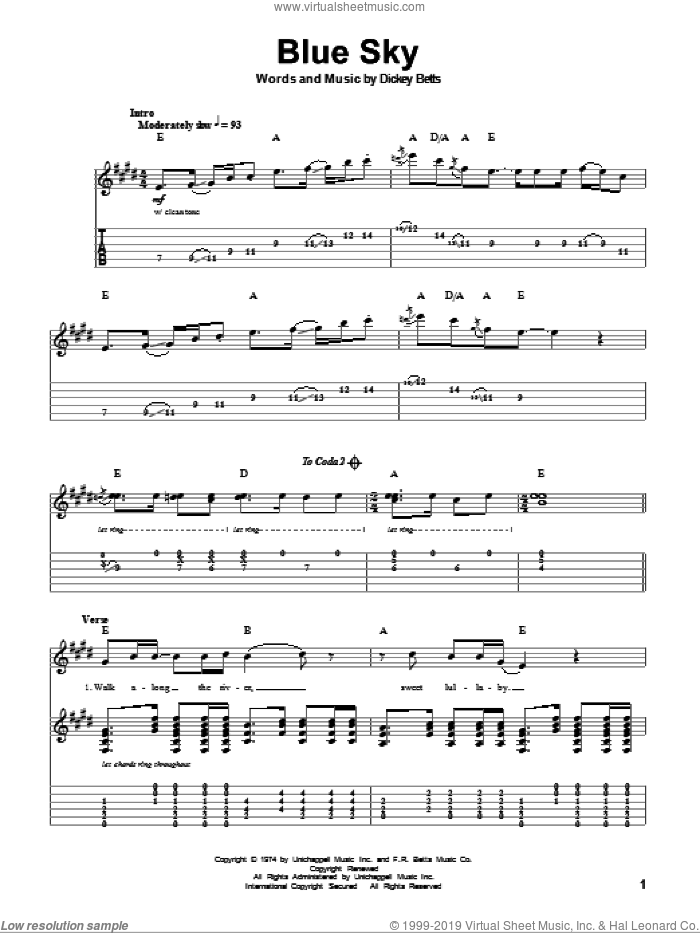 Blue Sky sheet music for guitar (tablature, play-along) by Allman Brothers Band