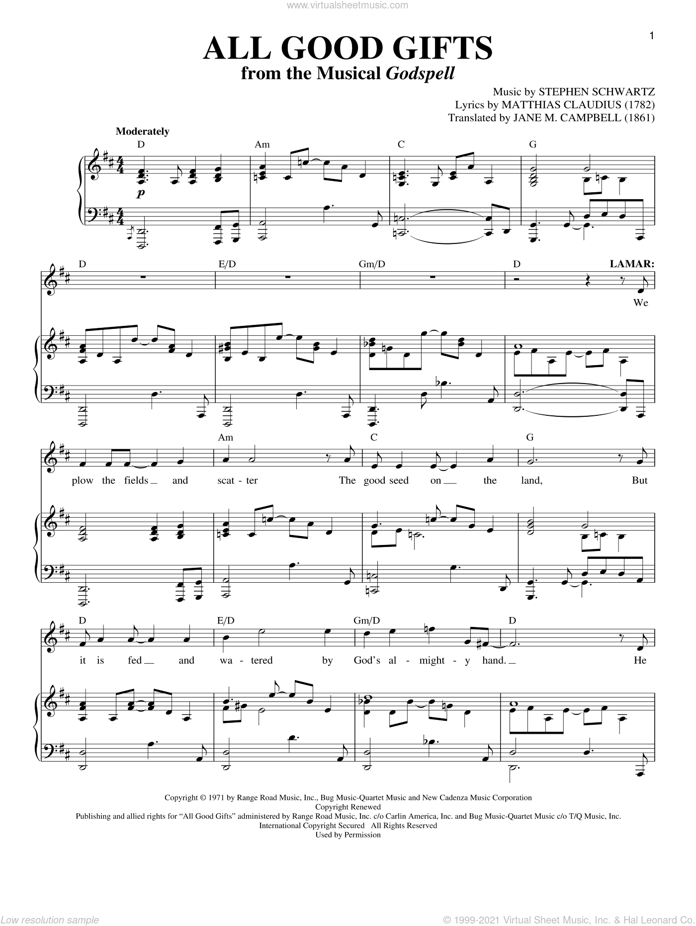 All Good Gifts sheet music for voice and piano by Matthias Claudius, Jane M. Campbell and Stephen Schwartz