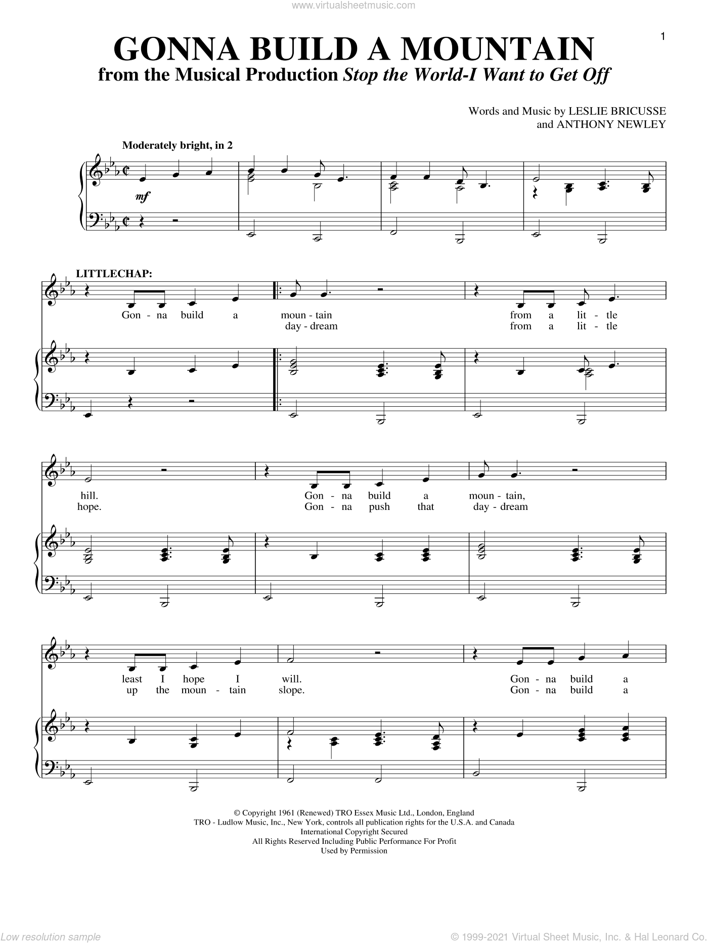 Gonna Build A Mountain sheet music for voice and piano by Leslie Bricusse and Anthony Newley, intermediate skill level