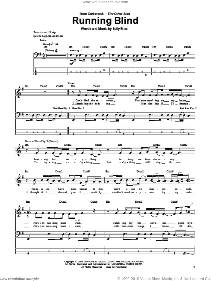 Running Blind sheet music for bass (tablature) (bass guitar) by Sully Erna. Score Image Preview.
