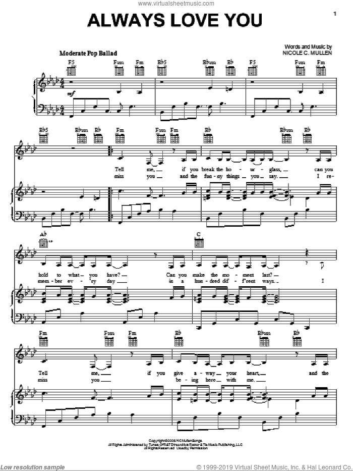 Always Love You sheet music for voice, piano or guitar by Nicole C. Mullen, intermediate skill level