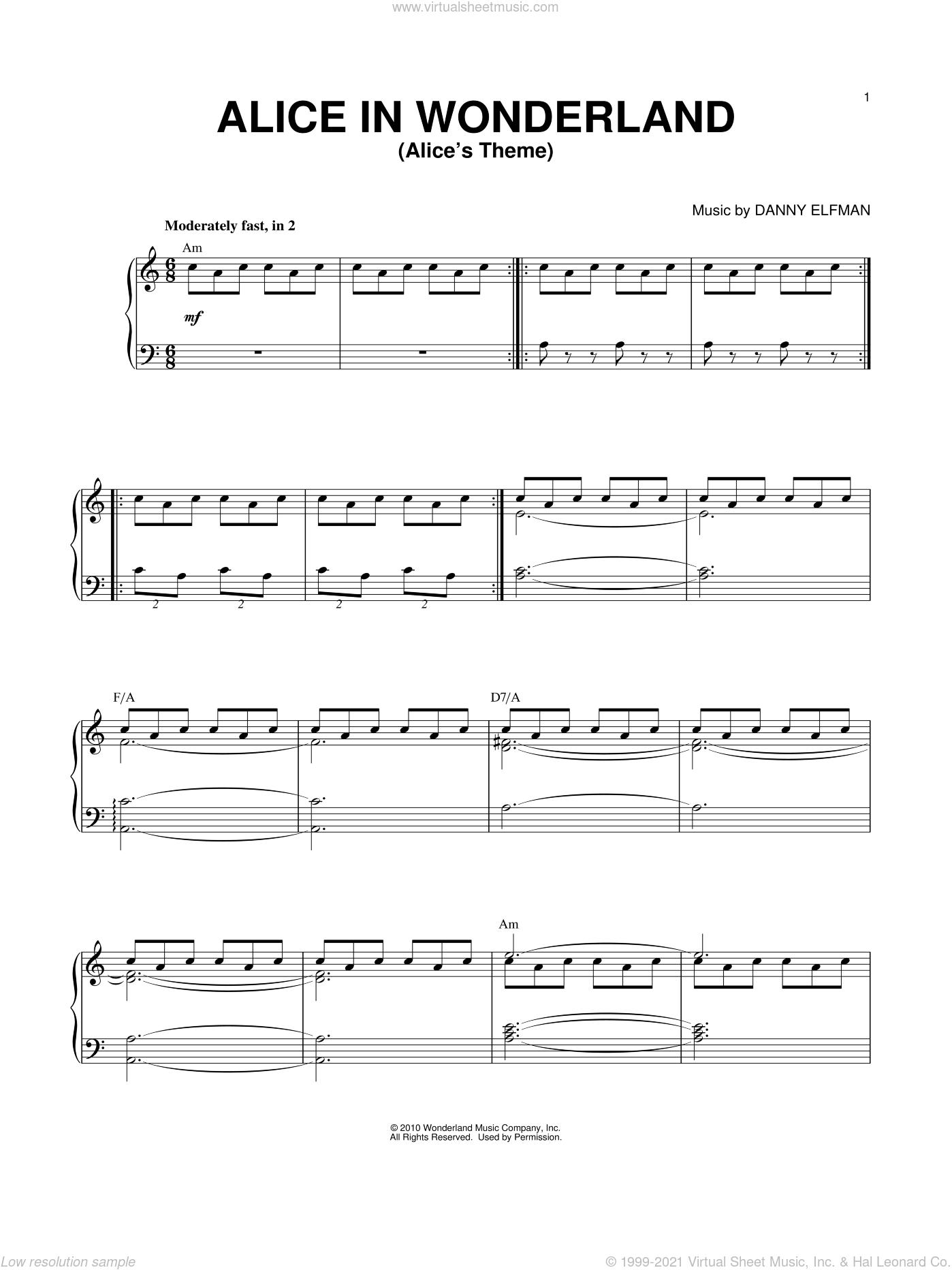 Alice's Theme sheet music for voice, piano or guitar by Danny Elfman and Alice In Wonderland (Movie), intermediate skill level