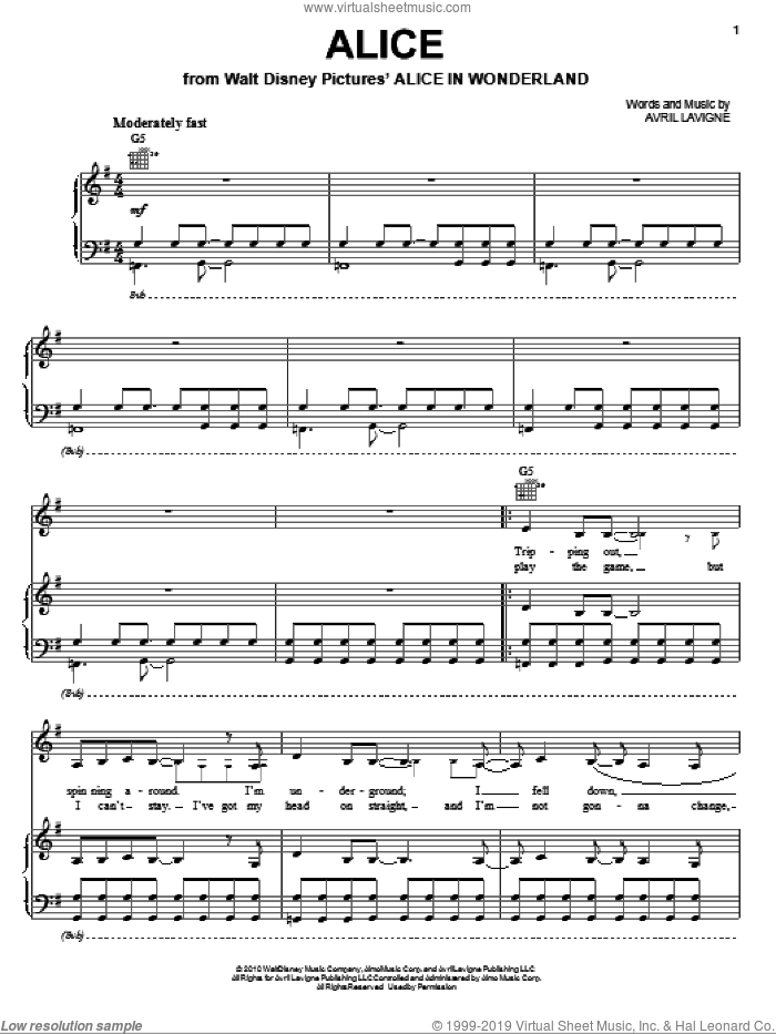 Alice sheet music for voice, piano or guitar by Avril Lavigne and Alice In Wonderland (Movie), intermediate skill level