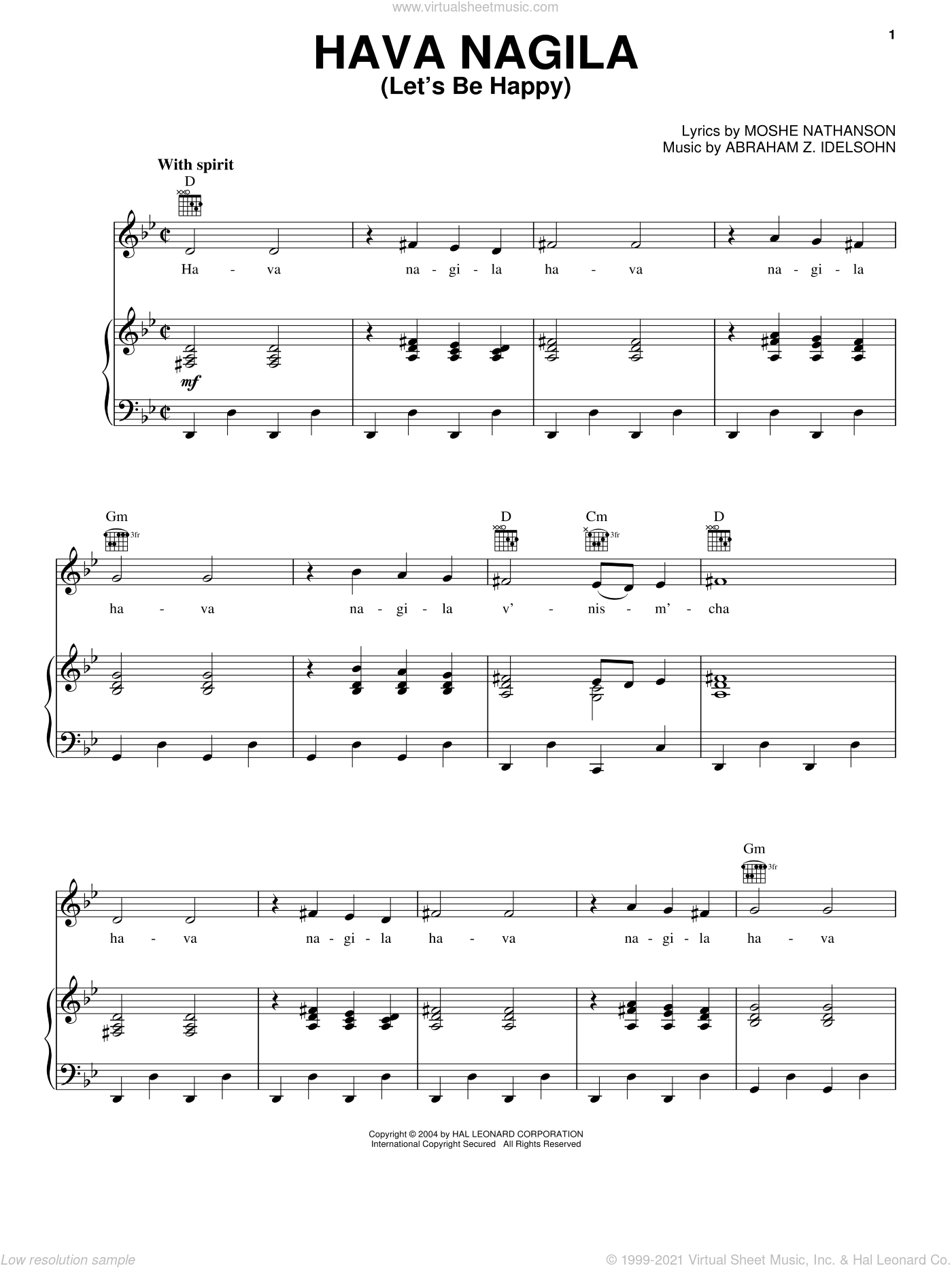 Hava Nagila (Let's Be Happy) sheet music for voice, piano or guitar by Moshe Nathanson and Abraham Z. Idelsohn, intermediate voice, piano or guitar. Score Image Preview.