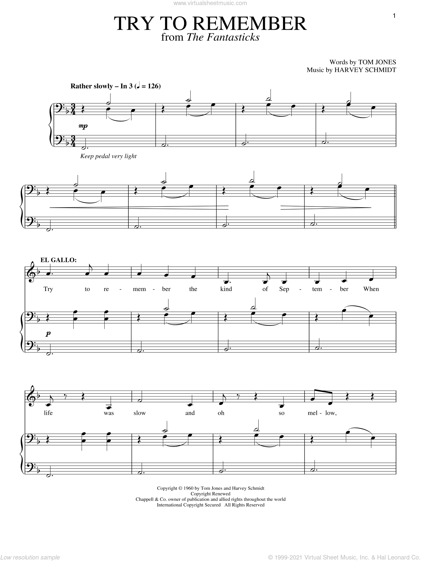 Try To Remember sheet music for voice and piano by Harvey Schmidt, The Fantasticks (Musical) and Tom Jones, intermediate skill level