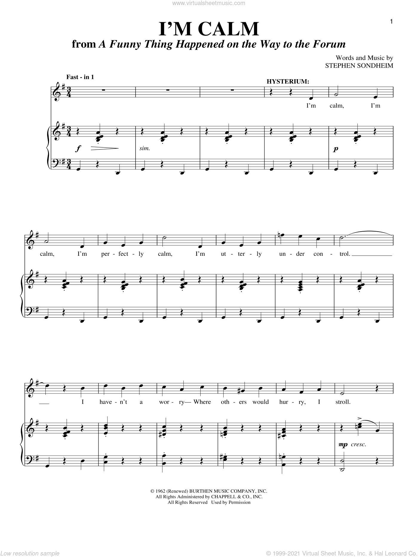 I'm Calm sheet music for voice and piano by Stephen Sondheim. Score Image Preview.