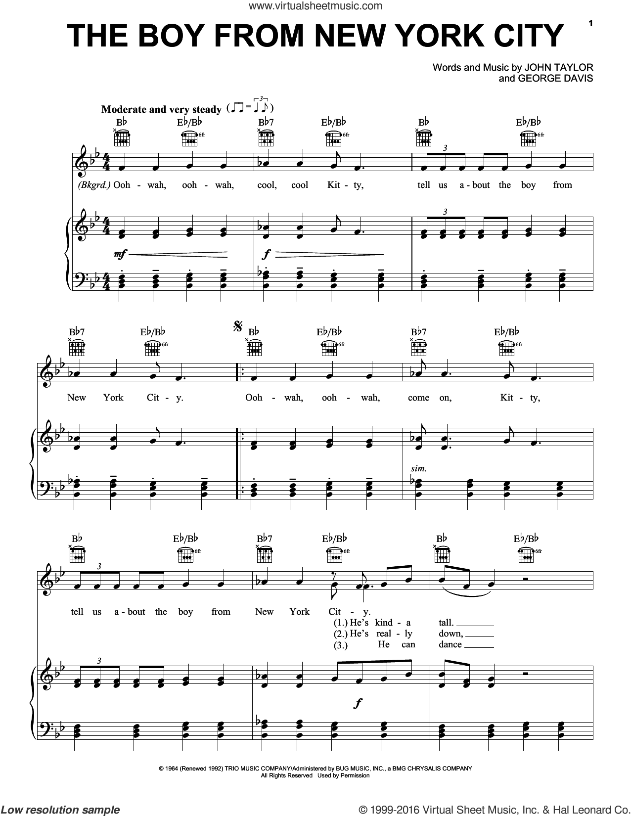 The Boy From New York City sheet music for voice, piano or guitar by John Taylor, Manhattan Transfer and George Davis. Score Image Preview.