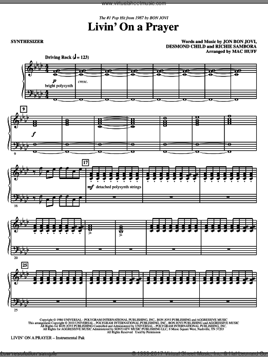 Livin' On A Prayer (COMPLETE) sheet music for orchestra by Desmond Child