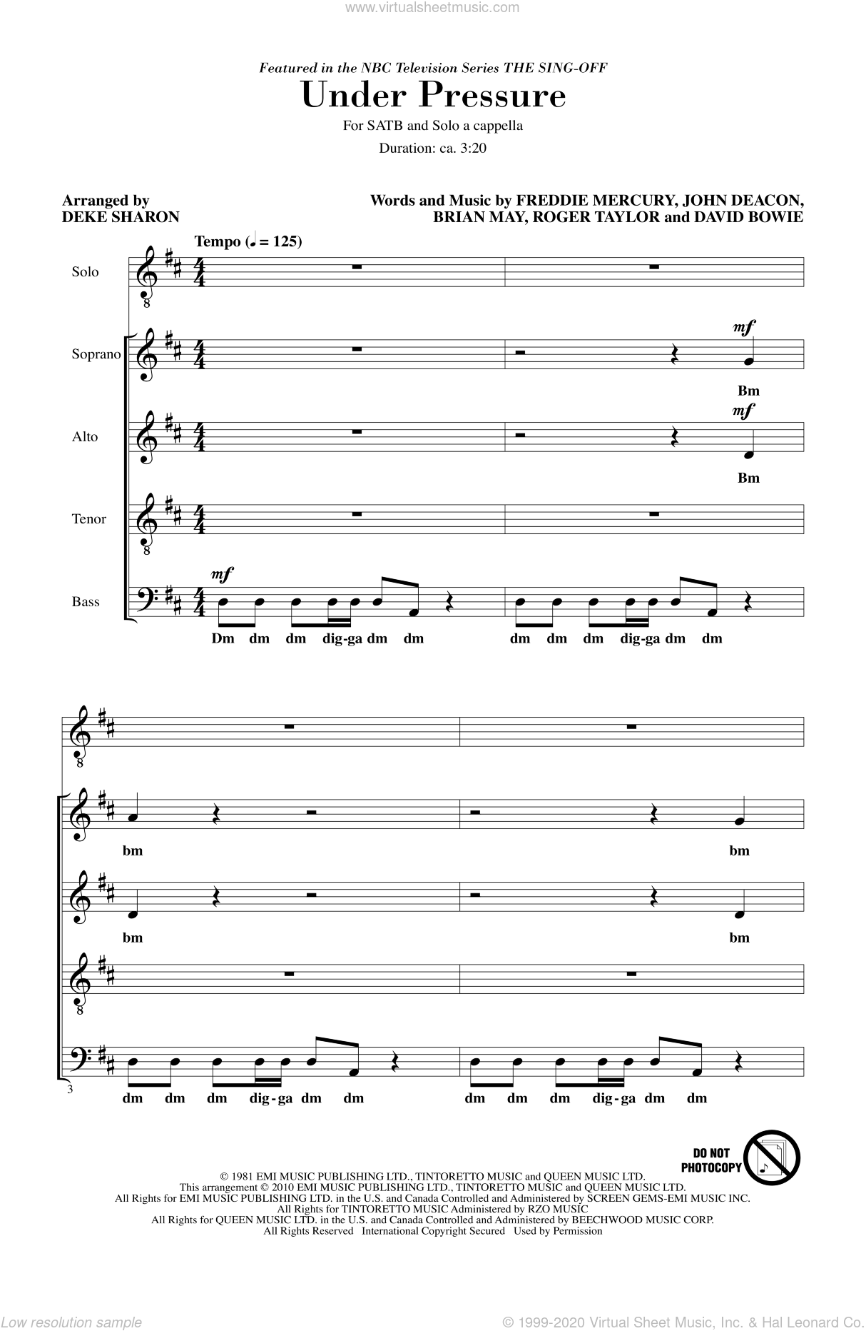 Under Pressure (from NBC's The Sing-Off) sheet music for choir (SATB: soprano, alto, tenor, bass) by David Bowie, Freddie Mercury, Deke Sharon and Queen, intermediate. Score Image Preview.