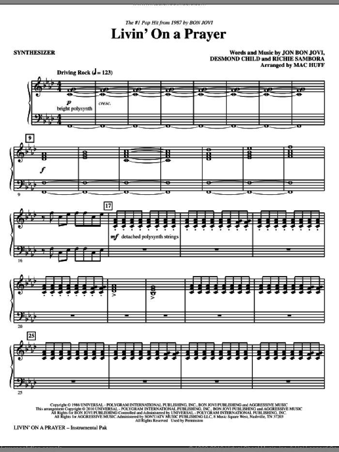 Livin' On A Prayer (complete set of parts) sheet music for orchestra/band (Rhythm) by Bon Jovi, Desmond Child, Richie Sambora and Mac Huff, intermediate skill level