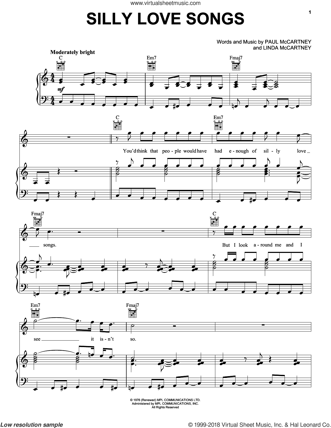 Silly Love Songs sheet music for voice, piano or guitar by Paul McCartney, Paul McCartney and Wings and Linda McCartney, intermediate skill level