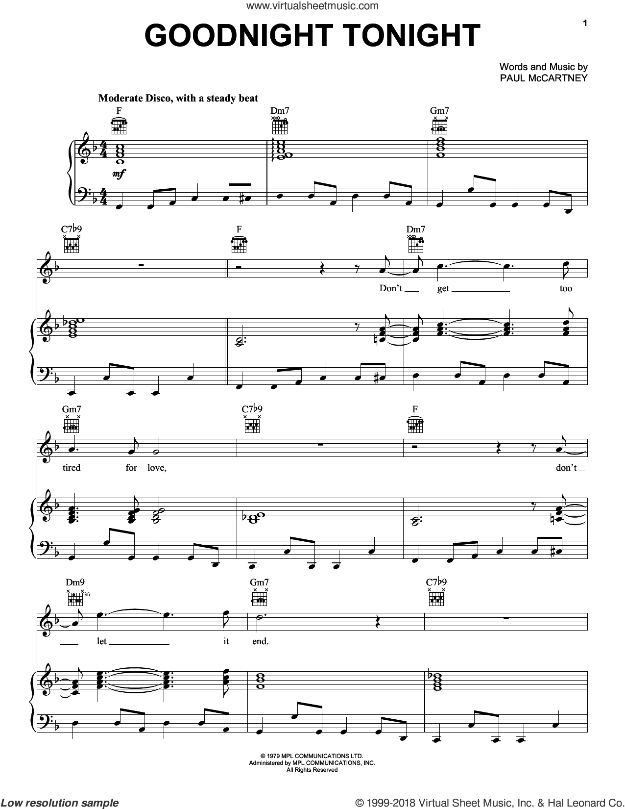Goodnight Tonight sheet music for voice, piano or guitar by Paul McCartney and Paul McCartney and Wings, intermediate skill level