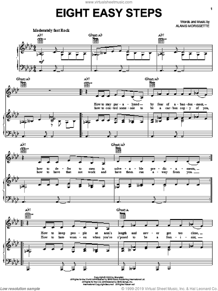Eight Easy Steps sheet music for voice, piano or guitar by Alanis Morissette