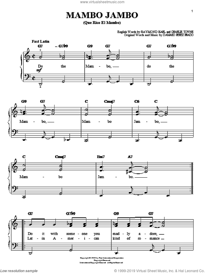 Mambo Jambo (Que Rico El Mambo) sheet music for piano solo by Raymond Karl, Perez Prado and Damaso Perez Prado. Score Image Preview.