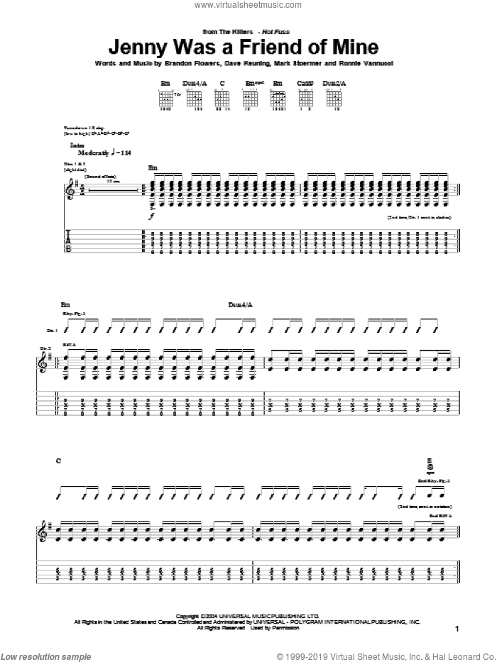 Jenny Was A Friend Of Mine sheet music for guitar (tablature) by Ronnie Vannucci, The Killers, Brandon Flowers, Dave Keuning and Mark Stoermer. Score Image Preview.