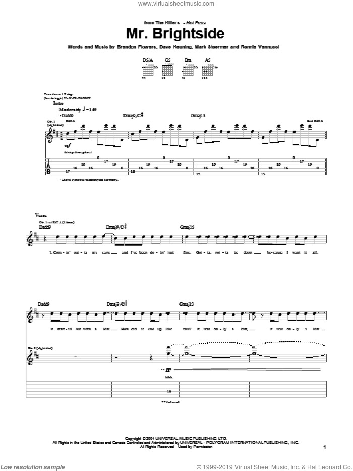 Mr. Brightside sheet music for guitar (tablature) by Ronnie Vannucci, The Killers, Brandon Flowers, Dave Keuning and Mark Stoermer. Score Image Preview.