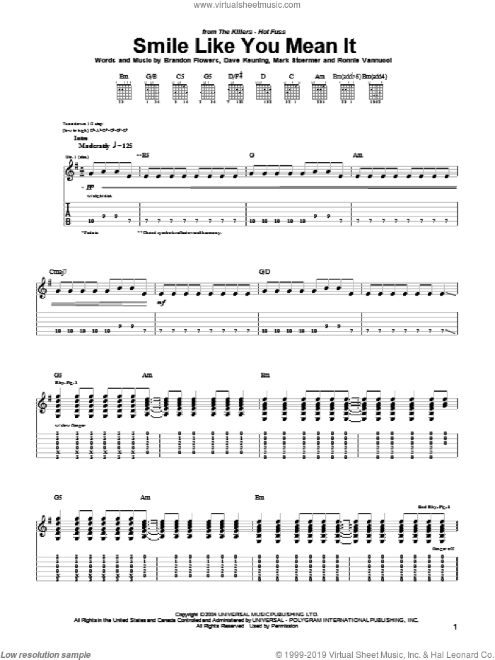 Smile Like You Mean It sheet music for guitar (tablature) by Ronnie Vannucci, The Killers, Brandon Flowers, Dave Keuning and Mark Stoermer. Score Image Preview.