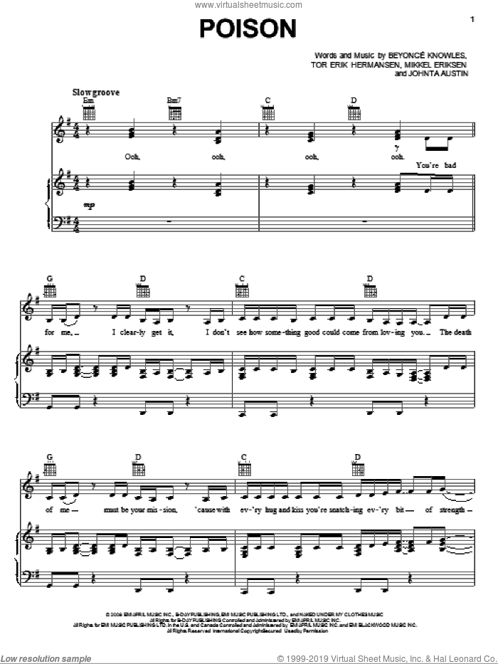 Poison sheet music for voice, piano or guitar by Beyonce, Johnta Austin, Mikkel Eriksen and Tor Erik Hermansen, intermediate skill level