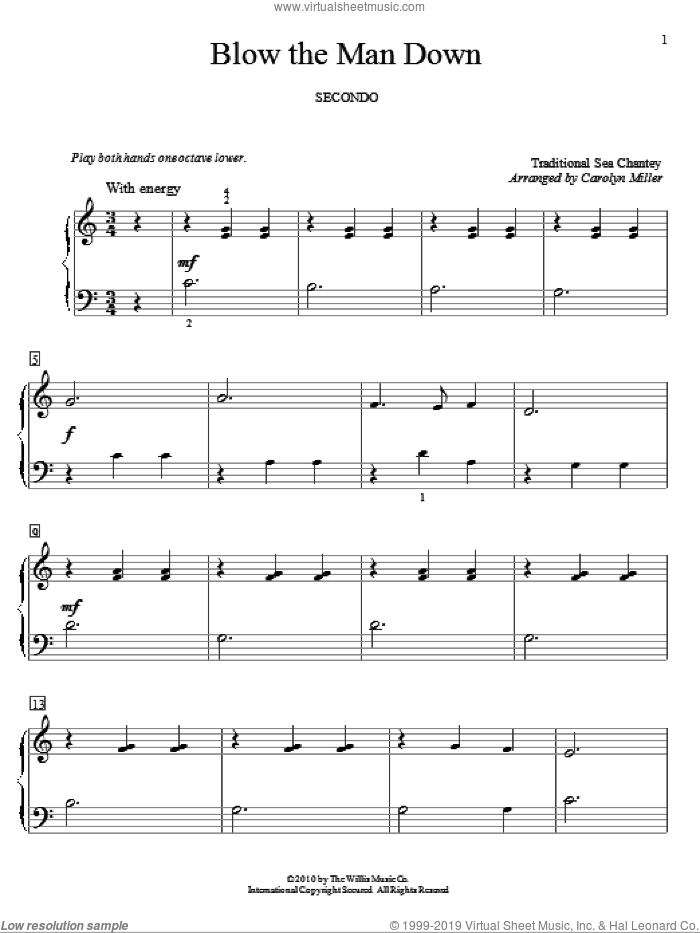 Blow The Man Down sheet music for piano four hands  and Carolyn Miller, intermediate skill level