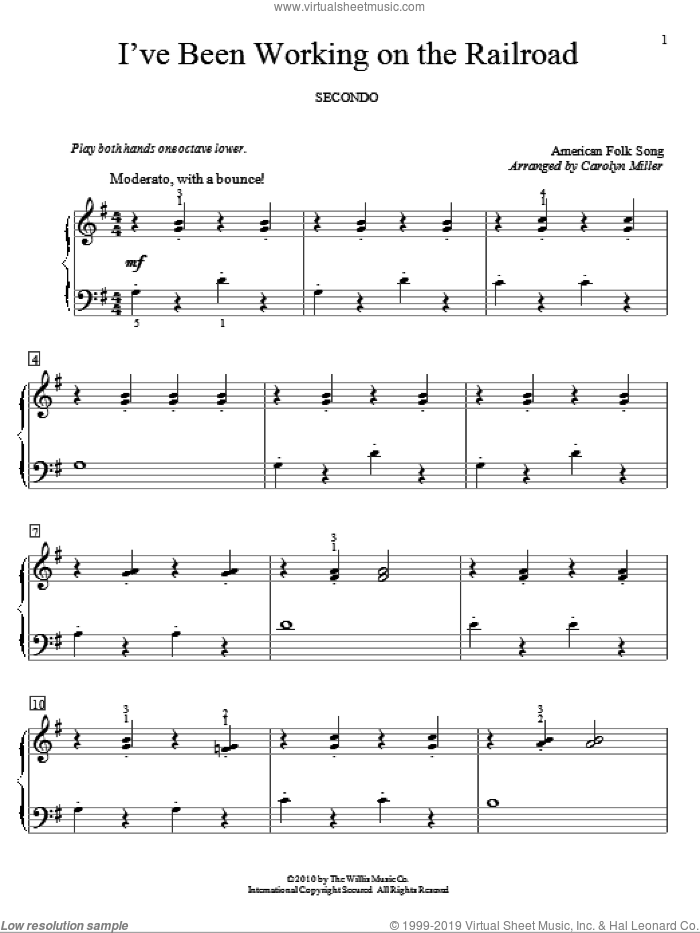 I've Been Working On The Railroad sheet music for piano four hands (duets)  and Carolyn Miller. Score Image Preview.