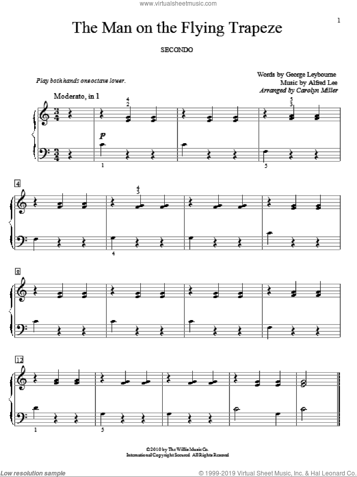 The Man On The Flying Trapeze sheet music for piano four hands (duets) by Alfred Lee, Carolyn Miller and George Leybourne. Score Image Preview.